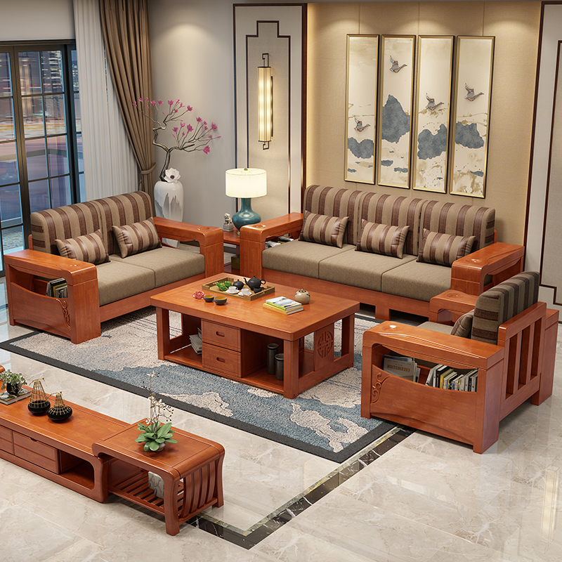 Solid Wood Sofa Combination Living Room Modern New Chinese Wooden Furniture Set Oak Fabric Sofa Bed Push Pull Dual Use