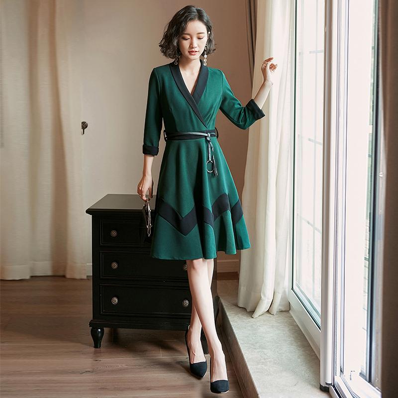 2018 весна новый порт вкус v воротник ретро юбка весна длина темперамент ins превышать пожар из платье женщина лето