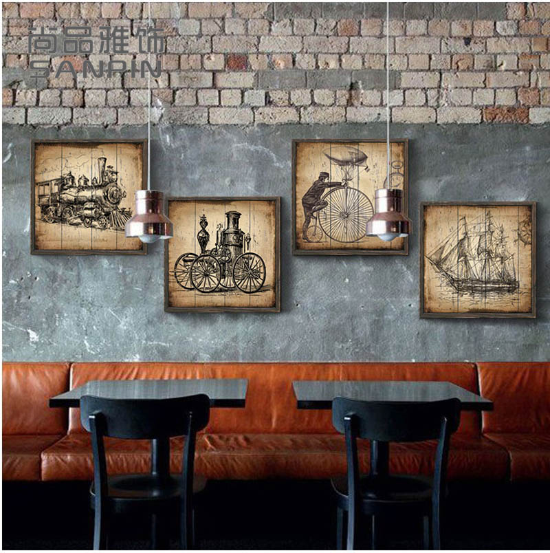 Retro Style European Murals Framed Painting Living Room Wall Decoration Bar American Paintings