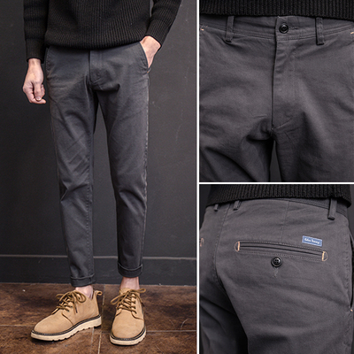 Japanese men's trousers fall and winter casual trousers male Harun trend Korean Slim pants youth British feet trousers