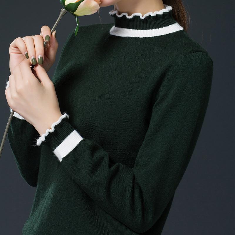 半高领毛衣女套头宽松秋冬厚长袖韩版大款短款小清新木耳边打底衫