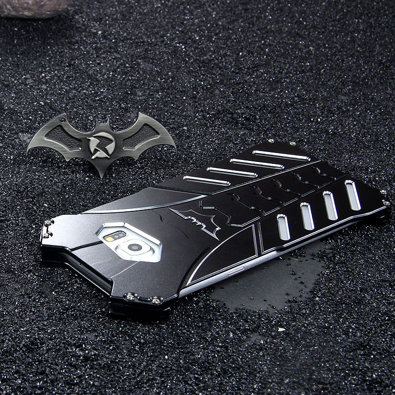 R-Just Batman Shockproof Aluminum Shell Metal Case with Custom Stent for Samsung Galaxy S6 Edge Plus G9280 & S6 Edge G9250