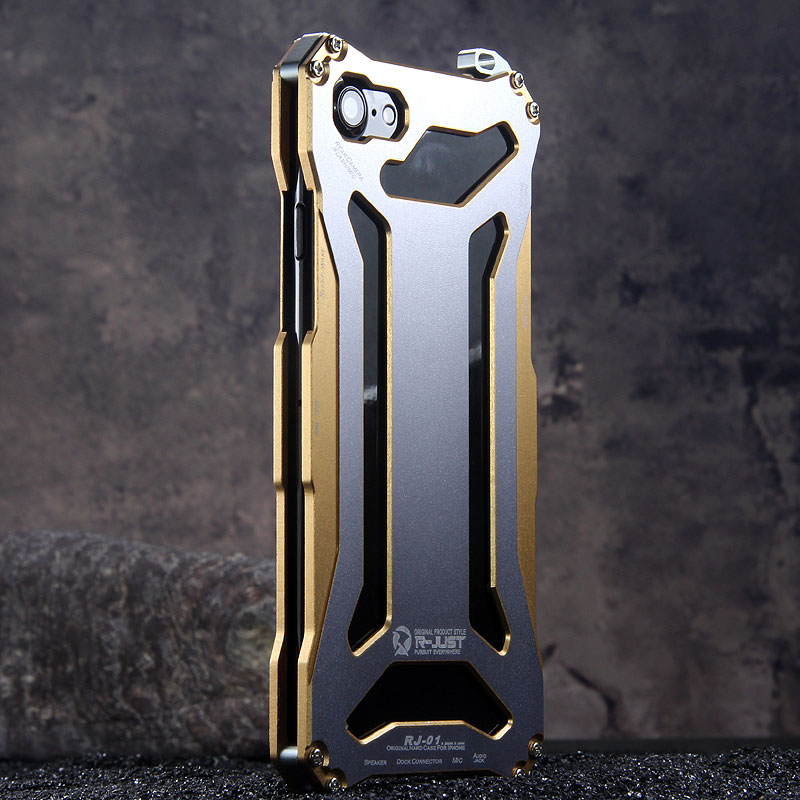 R-Just Gundam Aerospace Aluminum Contrast Color Shockproof Metal Shell Outdoor Protection Case for Apple iPhone 7 Plus