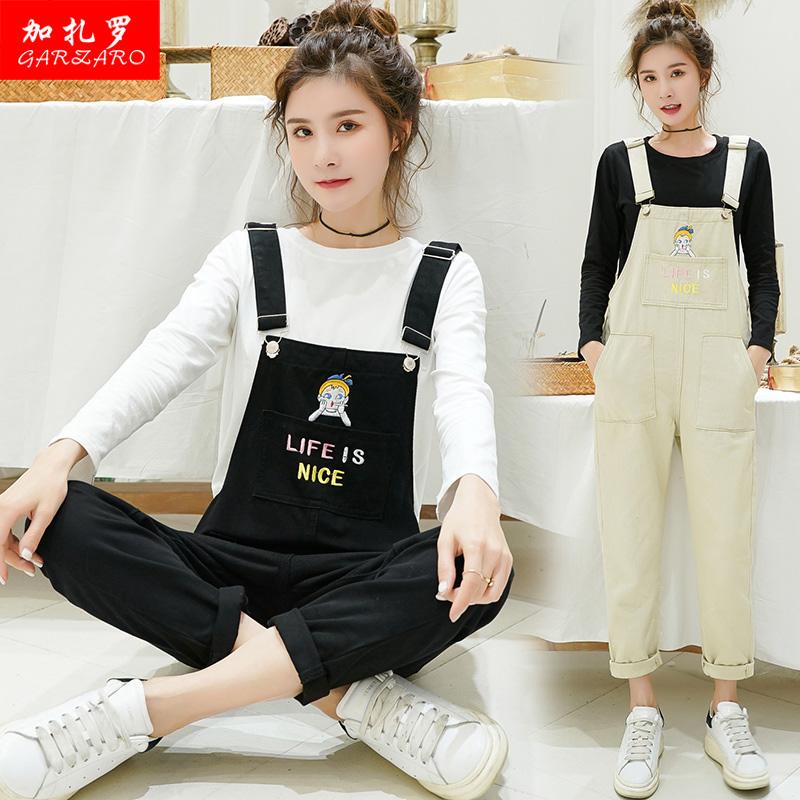 牛仔背带裤套装女2019春季新款初中高中学生韩版T恤吊带裤两件套