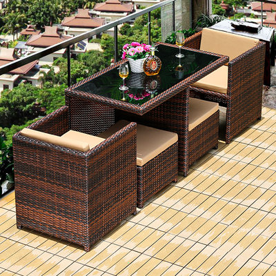Balcony creative vine table and chair waterproof terrace casual garden home courtyard three-piece vine chair tea table combination