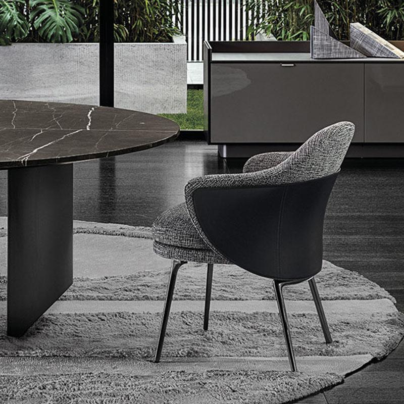 意式极简餐椅家用餐厅阳台书桌化妆桌靠背铁艺椅子设计师扶手椅