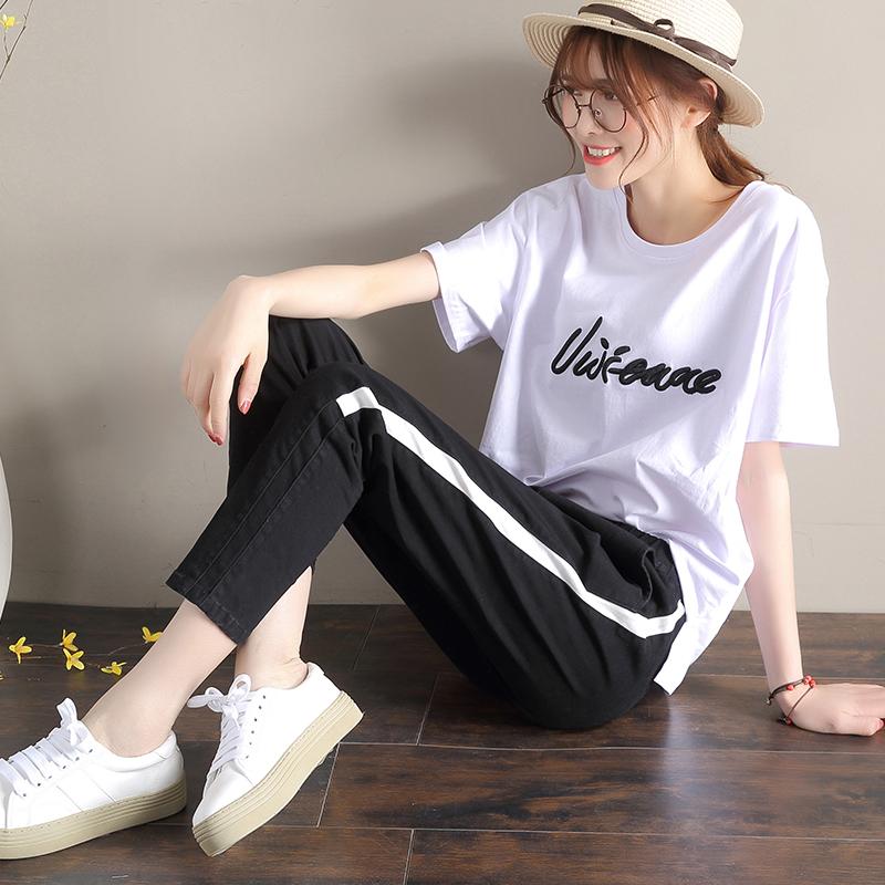 东哞休闲长裤九分裤+T恤两件套