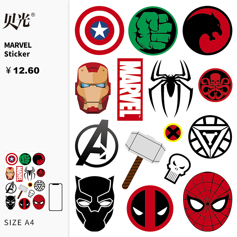 Man wei superhero logo sticker personalized waterproof travel box sticker laptop skateboard sticker becquan 77
