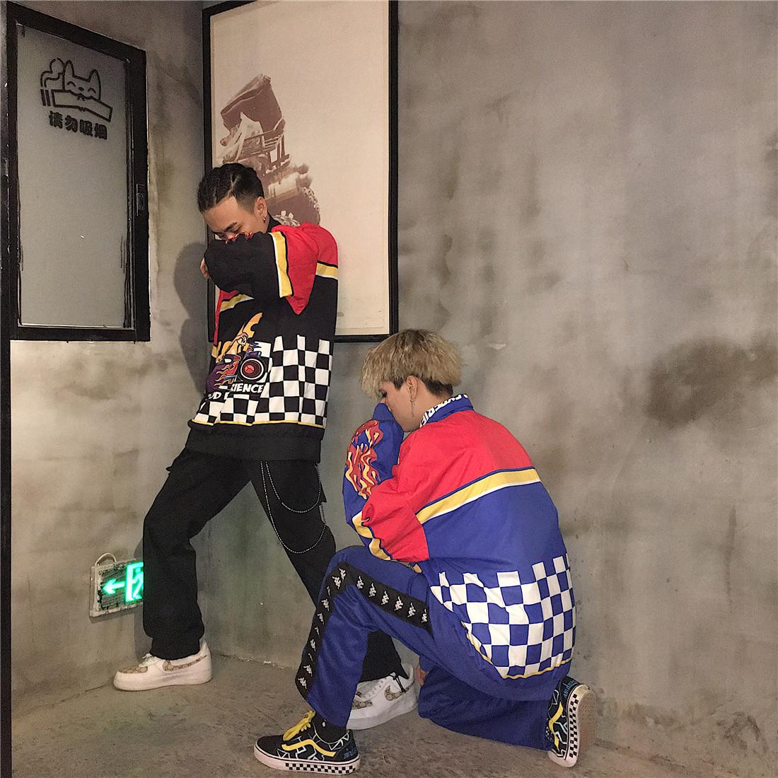 Hàn Quốc studios Hàn Quốc với windproof đứng cổ áo nửa dây kéo retro checkerboard ngọn lửa áo len
