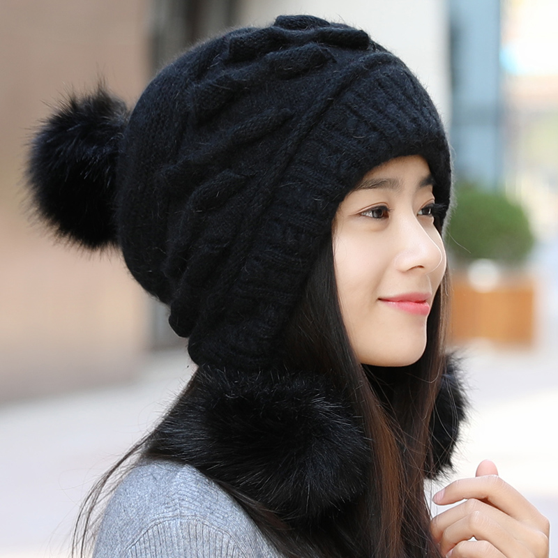 Hat female Winter Korean wild youth students wool cap thick warm earmuffs winter  hat tide cute 78da21d4aa0