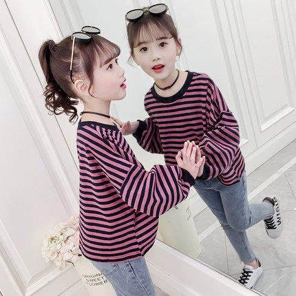 Girls T-shirt 2020 new spring and autumn clothes in the big children long-sleeved t-shirt children Korean spring wild loose shirt