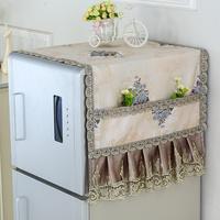 Холодильник обложка тканевая пылезащитный чехол список открытых для двойная дверь холодильник покрытия обложка тканевая полотенце кружево стиральная машина крышка шнур искусство