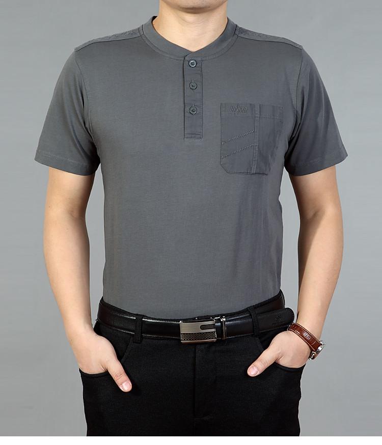 Mùa hè trung niên nam ngắn tay t-shirt vòng cổ bông kích thước lớn lỏng màu rắn phần mỏng trung niên cha đầm áo sơ mi Mẫu áo phông nam đẹp 2019