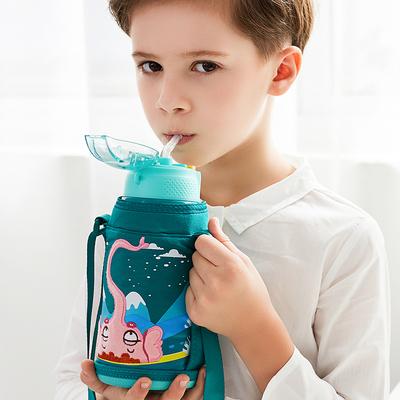 Face儿童保温杯带吸管两用大容量小学生防摔水壶宝宝便携水杯子