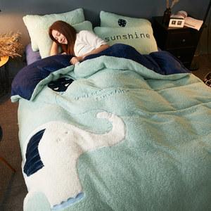 羊羔绒珊瑚绒四件套冬季双面加厚加绒法兰绒床上用品被套法莱床单