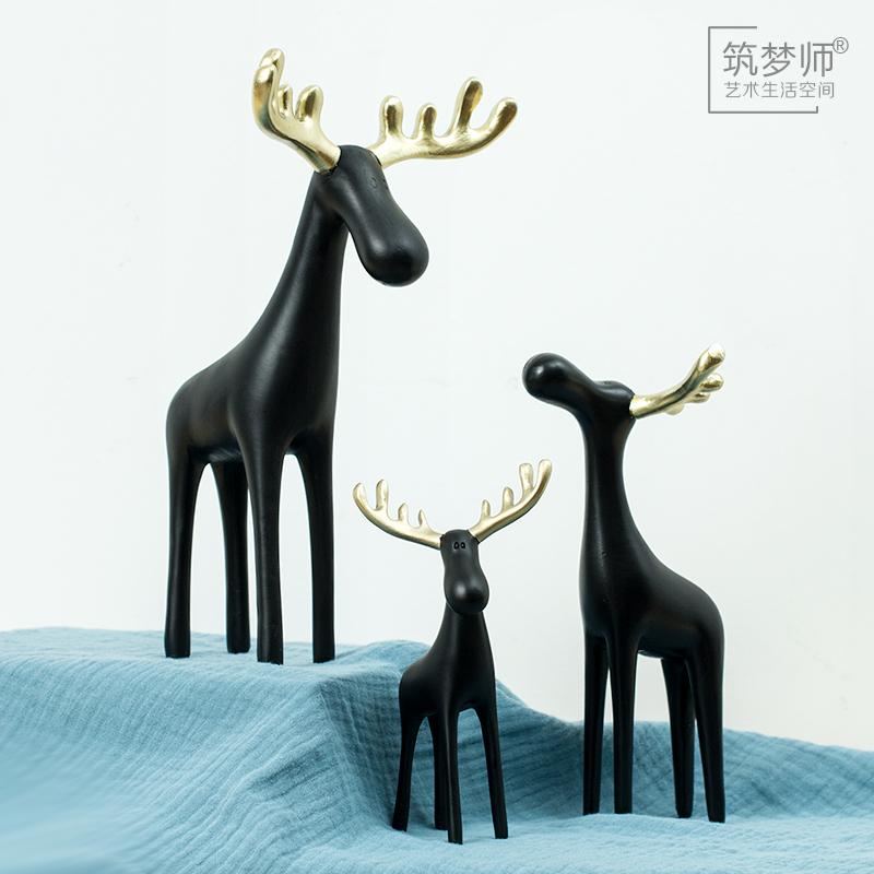 北欧Ins风格创意金角鹿家居装饰品美式摆件客厅玄关摆设