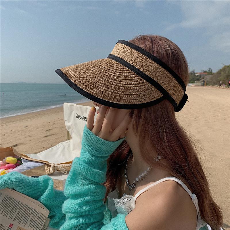 Fashion foldable empty top sunscreen sunshade straw fisherman hat wholesale NHALD344361