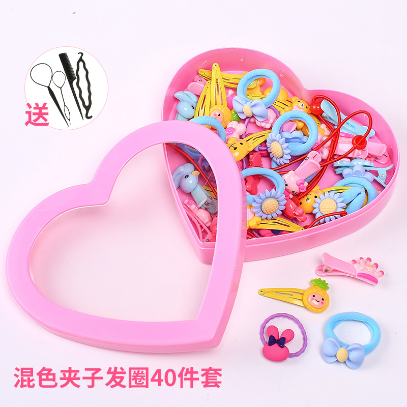 7# mixed color clip hair ring 40 piece set