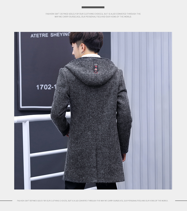 Winter windcoat men's middle and long Korean version of the trend with a cap plus plush thick wool coat men's coat 61 Online shopping Bangladesh