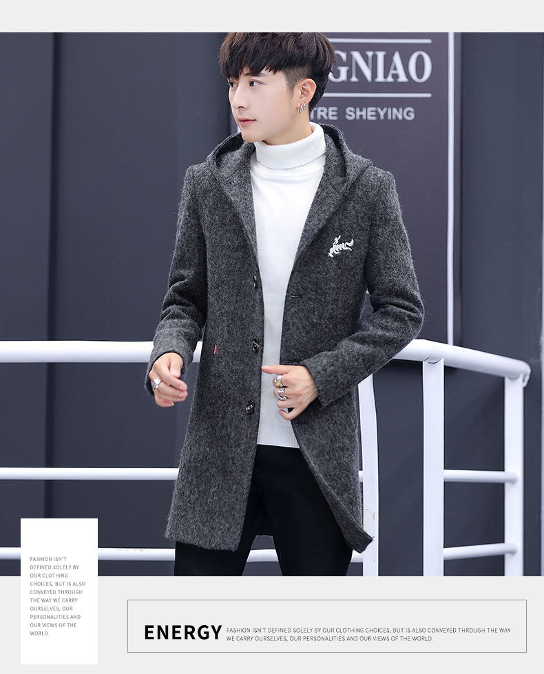 Winter windcoat men's middle and long Korean version of the trend with a cap plus plush thick wool coat men's coat 59 Online shopping Bangladesh