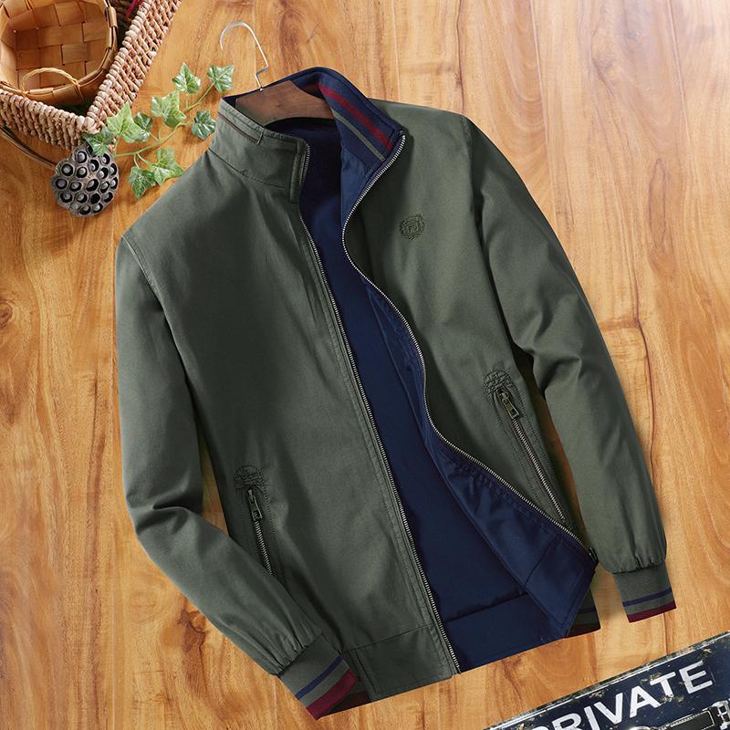 中年男士夹克春秋季立领纯棉夹克衫爸爸装双面穿休闲男装薄款外套