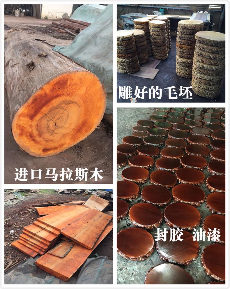 琴书侣 实木雕刻奇石底座花瓶花盆景玉石摆件底座实木长方形挖槽