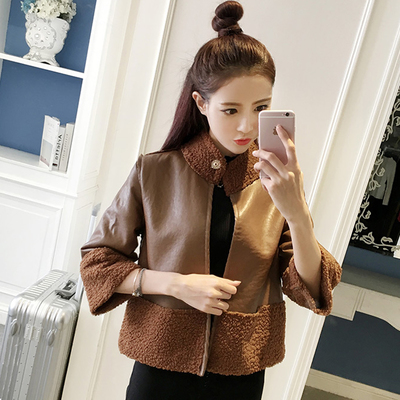 Autumn and winter women's new Korean fashion collar collar PU leather lamb coat female short paragraph on both sides wearing jacket jacket