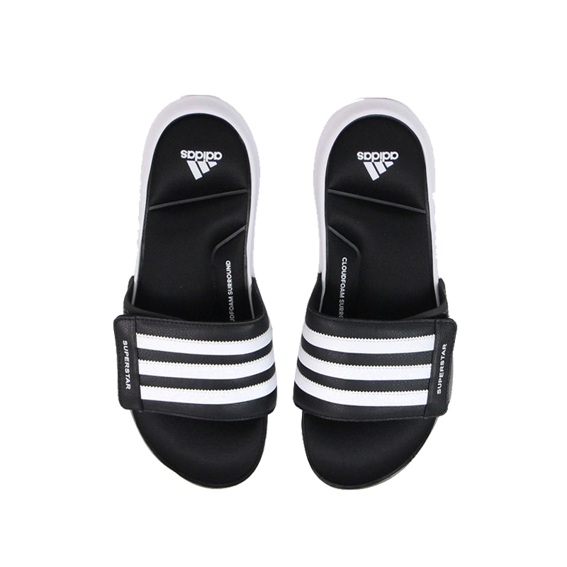 Adidas Superstar 3G5G men's summer black and white Velcro memory cotton sports slippers AC8702