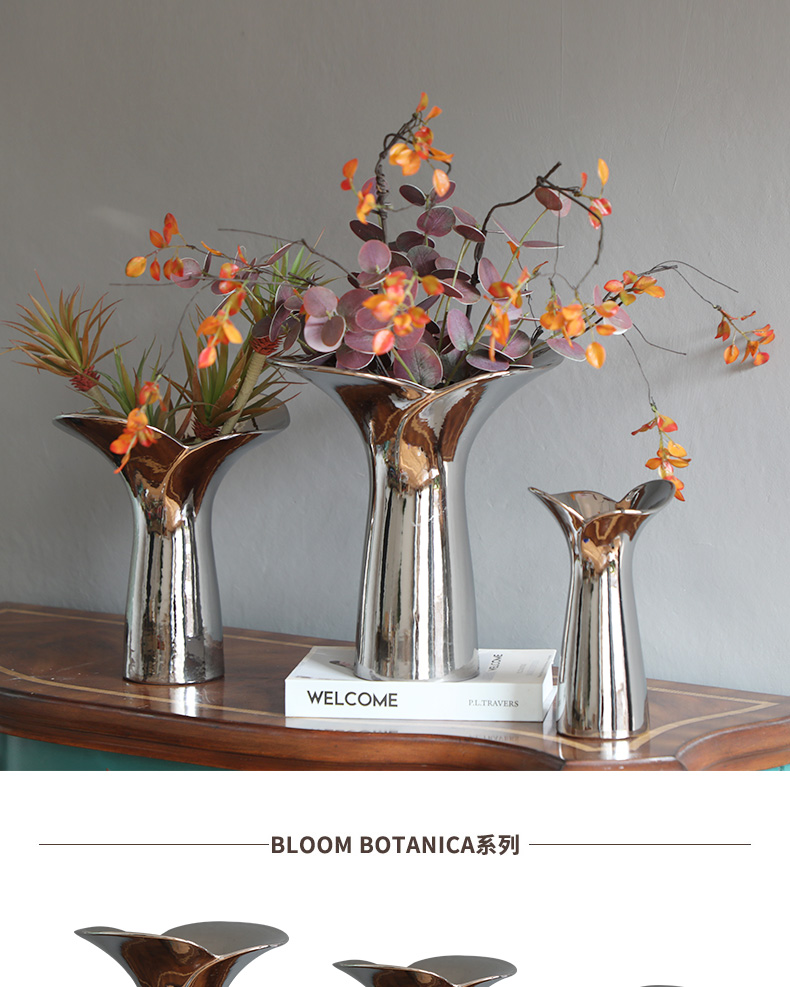 Modern household adornment light key-2 luxury silver ceramic vases, flower arrangement sitting room place between example table tail flowers