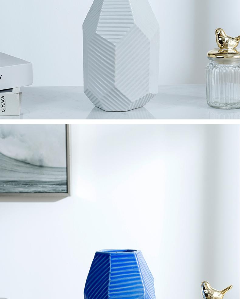 Nordic geometric ceramic vase furnishing articles sitting room light dry flower flower vase decoration decoration ideas of modern key-2 luxury hydroponics