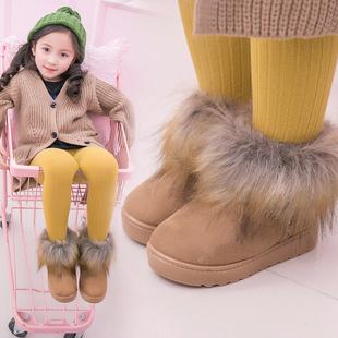 儿童加绒雪地靴仿狐狸毛女童靴子
