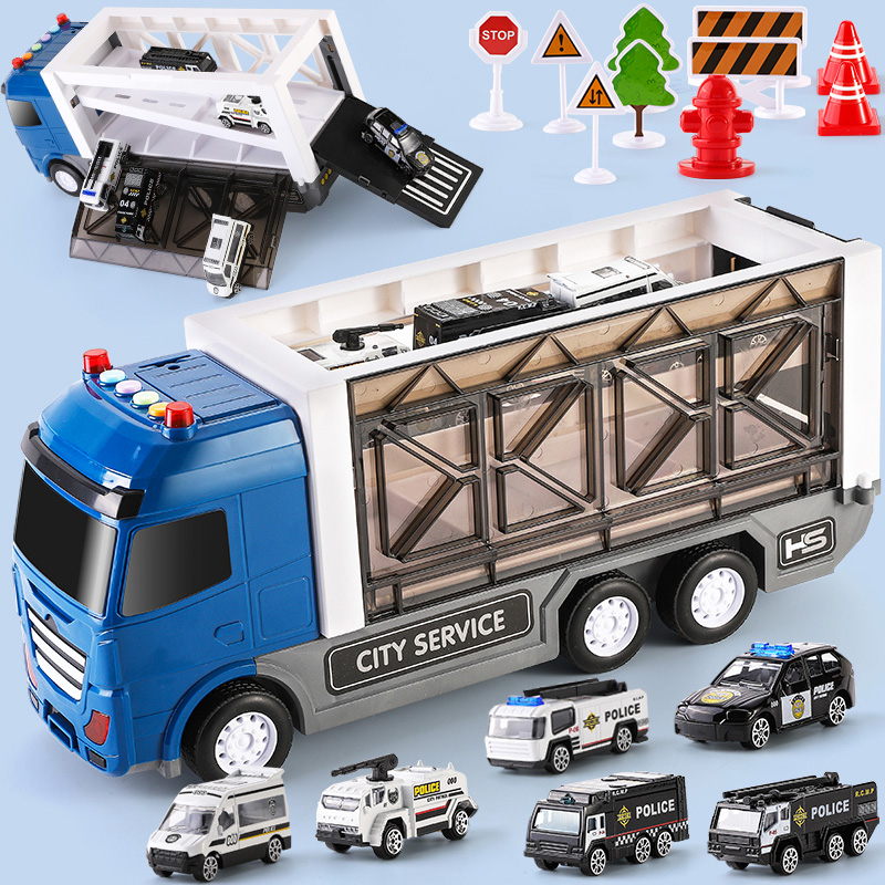 Car Boys Children toy car set various types of models 0-2-3 two-year-old police car child boy Fire