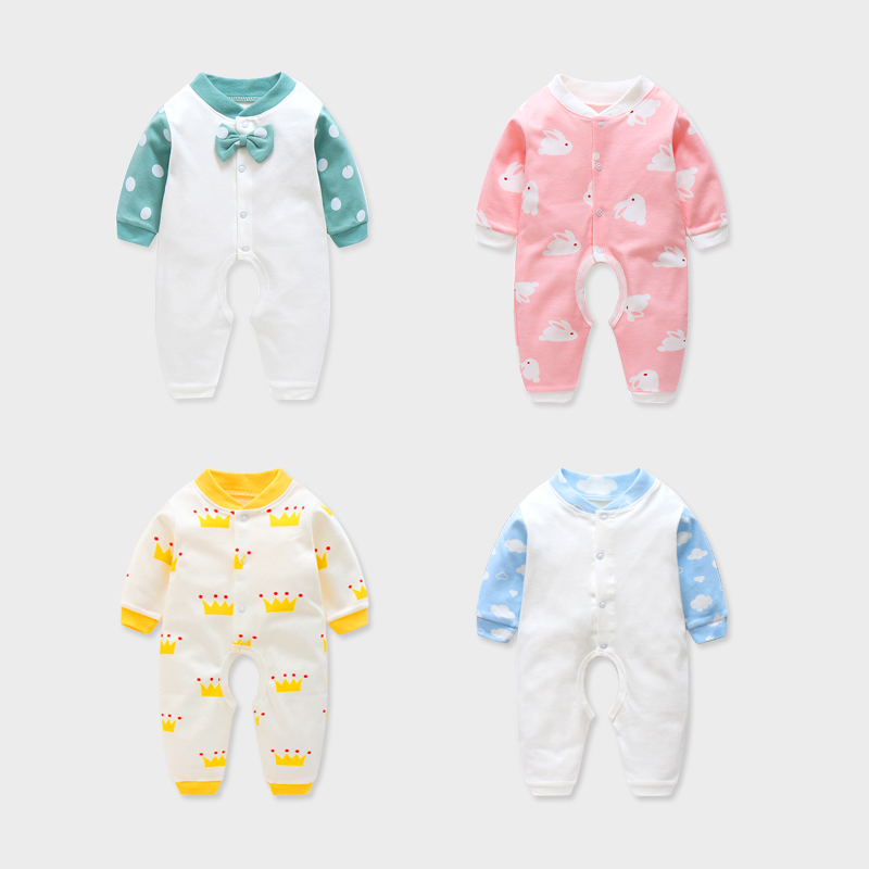 92f05f0a9 One-piece clothes for male infants spring and autumn pure cotton baby girls  crawling clothes for a first year of hayi newborn clothes 0-3 months old