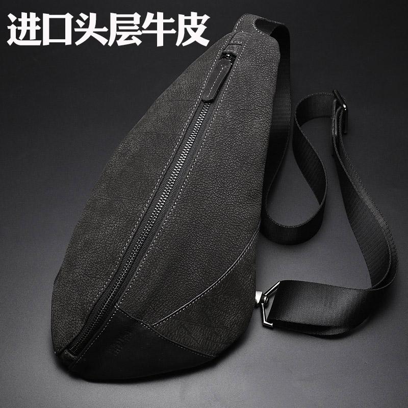 手机男胸包休闲时尚真皮包韩版潮牛皮头层背包户外运动单肩斜挎包