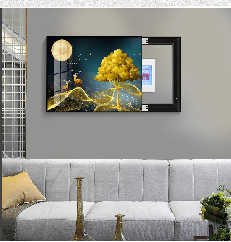 电錶箱装饰画轻奢现代简约配电箱遮挡壁画电闸多媒体创意超薄挂画详细照片