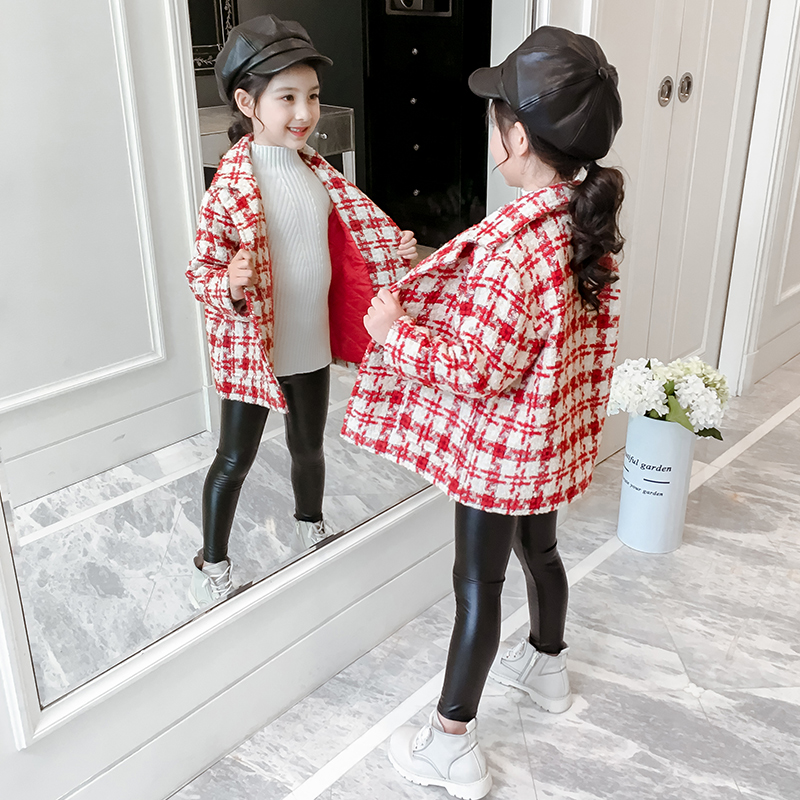 Children's plaid coat autumn 2019 new net red little girl thickened tweed top autumn and winter girls coat