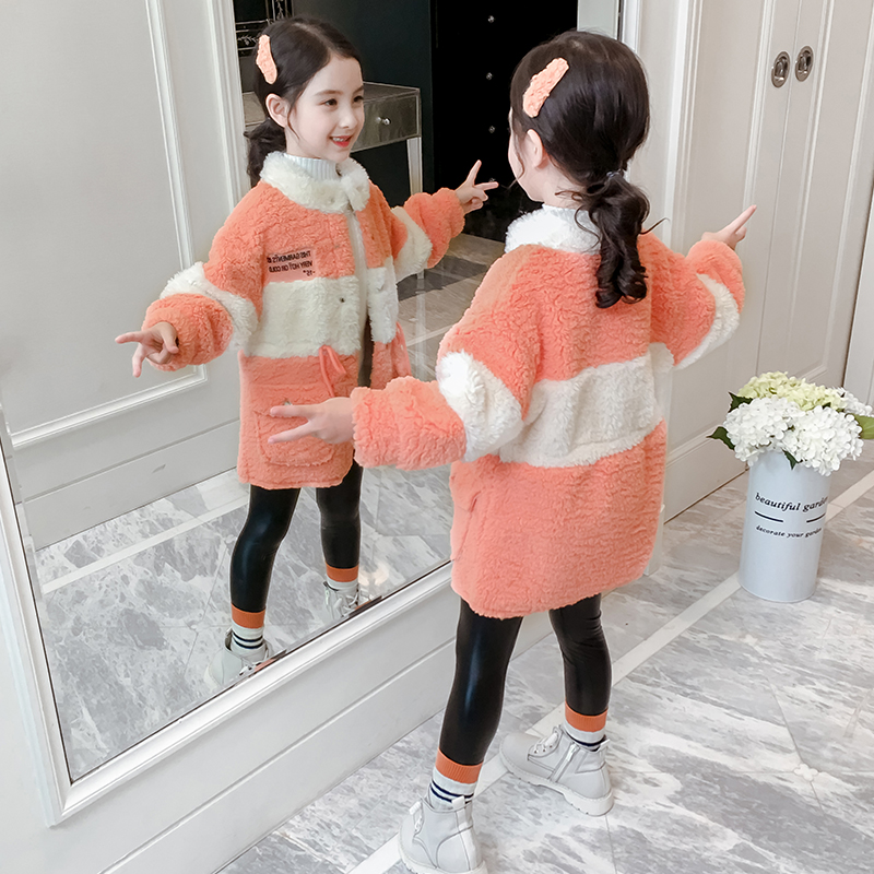 Girl jacket autumn 2019 New Long girl stitching Lamb cashmere shirt Korean version of children's wool clothing tide