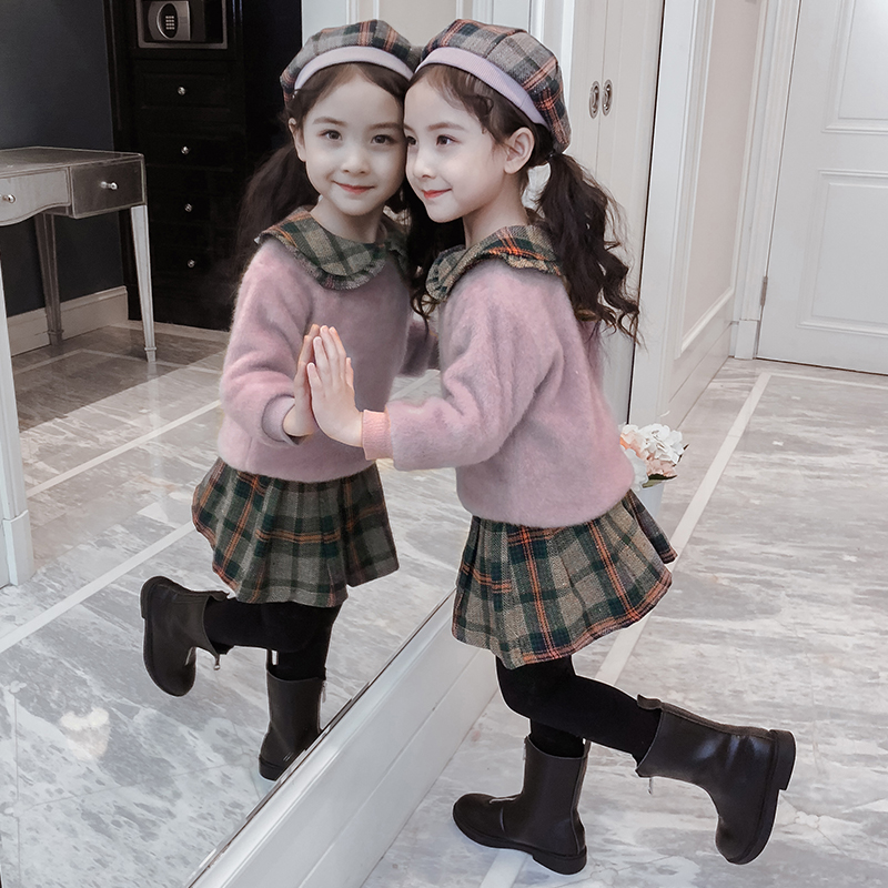 Girls' set winter dress 2019 new children's clothing fashionable sleeve skirt air autumn and winter children's mink velvet clothing two-piece set