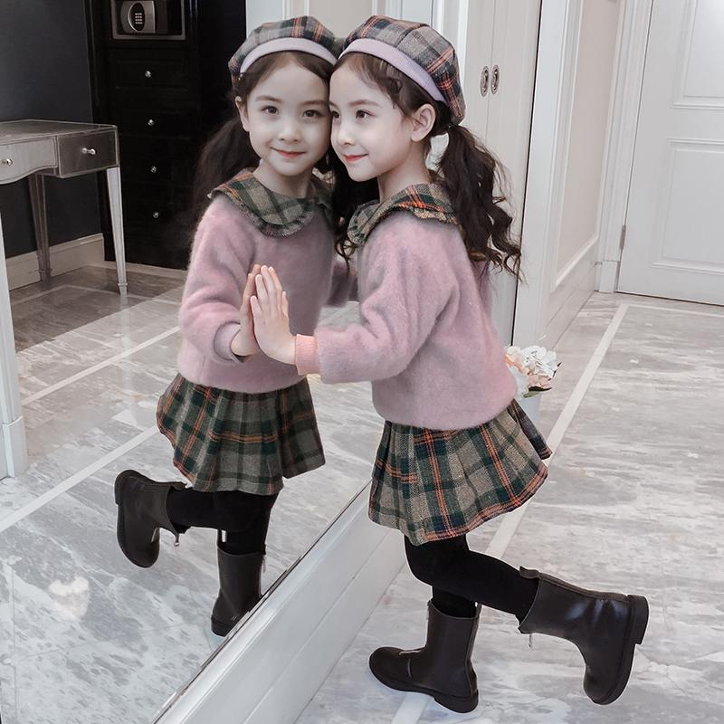 Cô gái phù hợp với mùa đông 2019 quần áo trẻ em mới hợp thời trang váy váy mùa thu và mùa đông trẻ em áo len nhung hai mảnh - Phù hợp với trẻ em