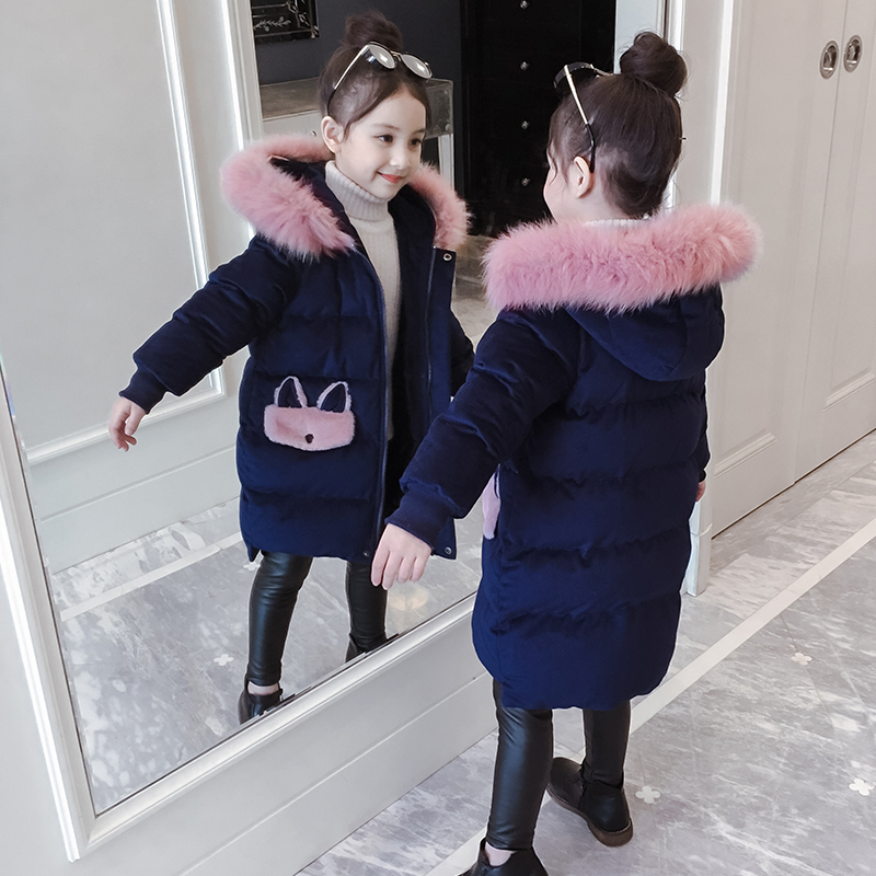 Girls cotton clothing winter clothing 2019 new children's clothing medium long coat foreign air gold velvet children's down cotton clothing winter