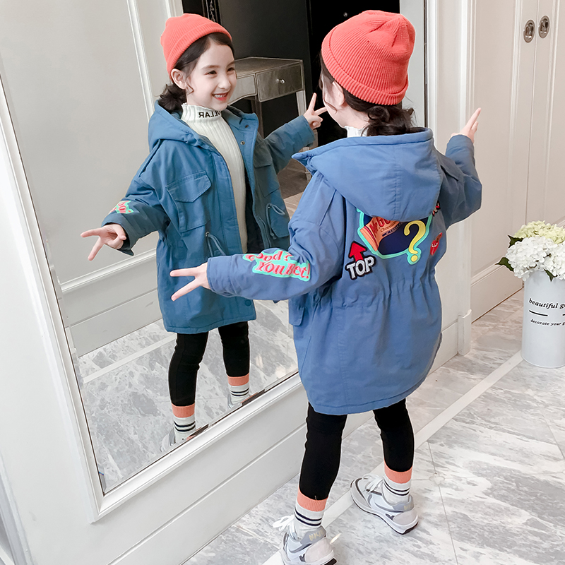 Girls cotton clothes autumn and winter dress air thickening jacket 2019 new children's sandwich cotton medium-length autumn dress children's cotton clothing.