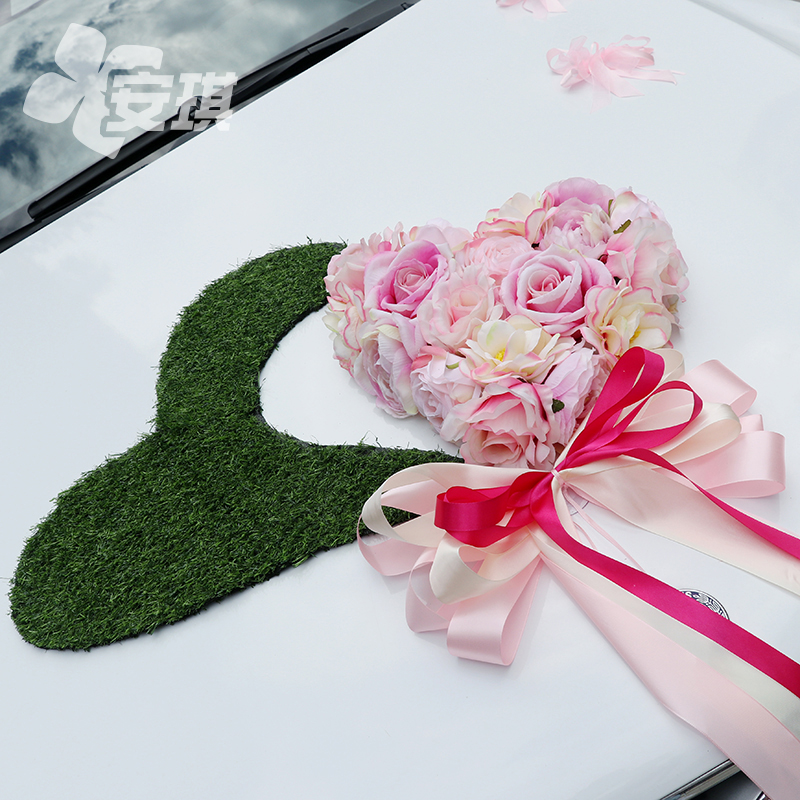 Wedding door handle Mirror decoration Main car sub-team champagne powder simulation flower heart plate custom