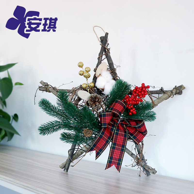 Christmas decoration garland simulation holiday shopping mall window wall hanging lintel decoration Upside down Christmas tree arrangement