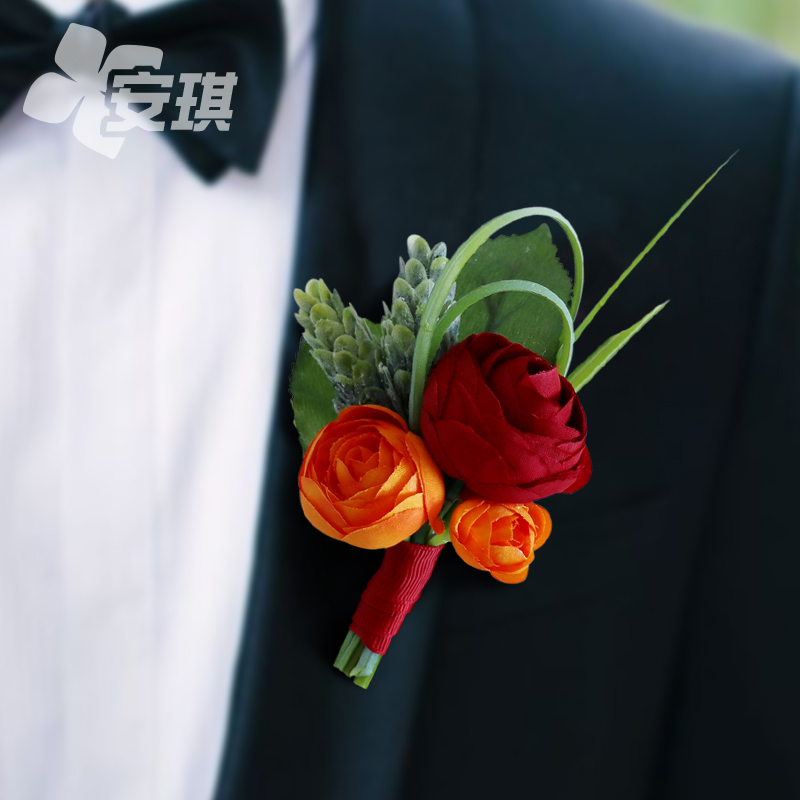 Chinese wedding bride and groom corsage Small red book innovative style simulation flannel rose parents lapel flower wedding