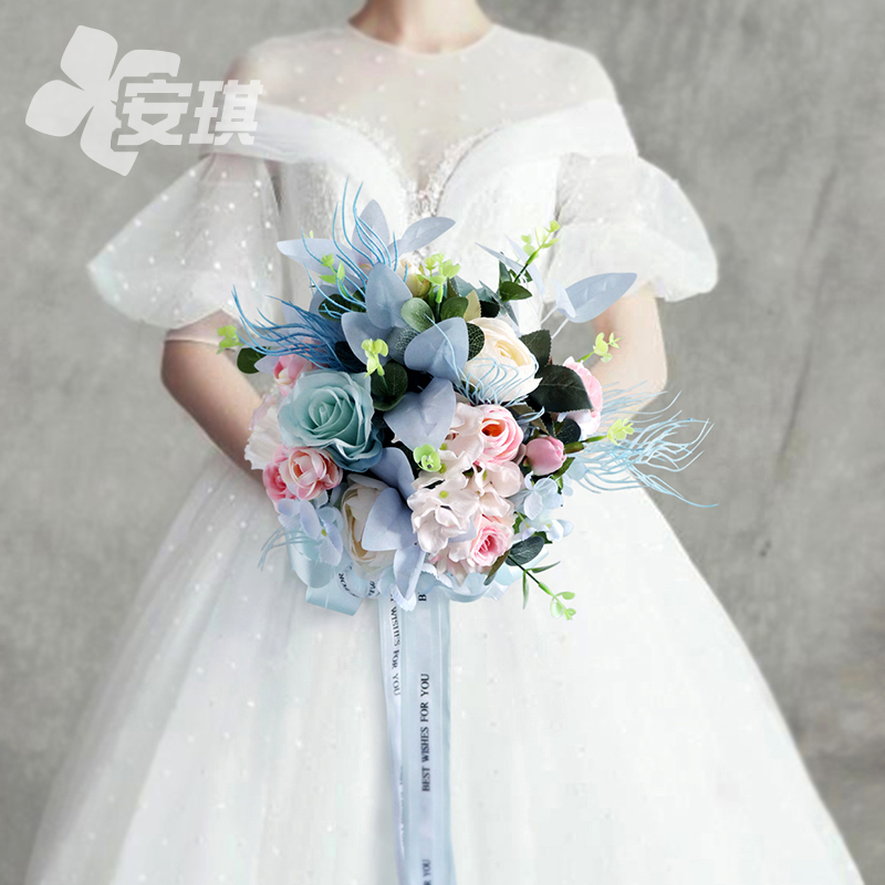 Beautiful pink blue bridal bouquet bouquet Korean wedding ceremony decoration photography tour photo props simulation non-flowers