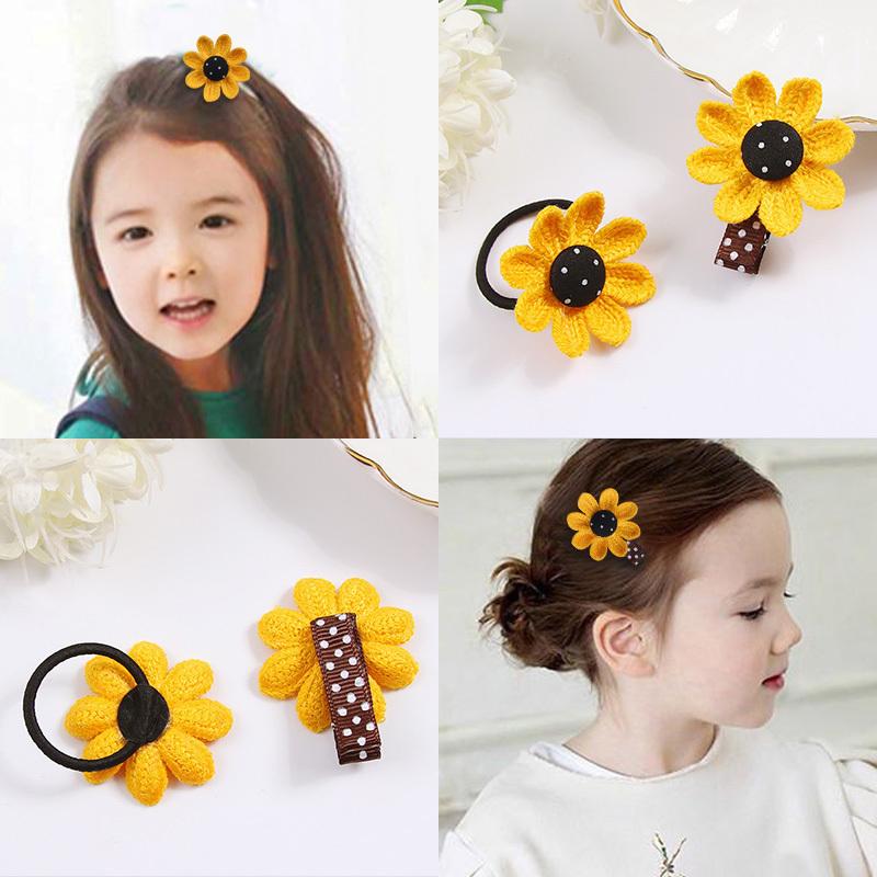 儿童花朵向日葵可爱编织发绳发夹女童公主宝宝扎头发橡皮筋头饰品