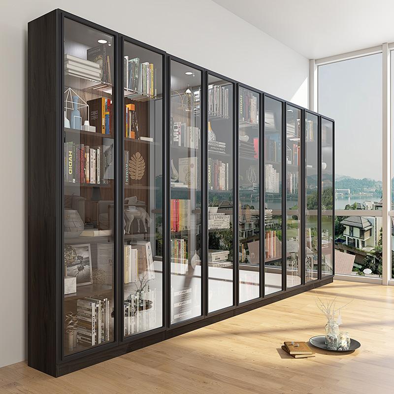 現代簡約實木轉角書柜北歐自由組合書架帶玻璃門辦公書櫥飾品柜