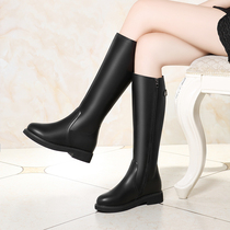 Mu Yang shoes franchise genuine autumn and winter new flat bottom high boots knight boots Warm Velvet womens boots 1758