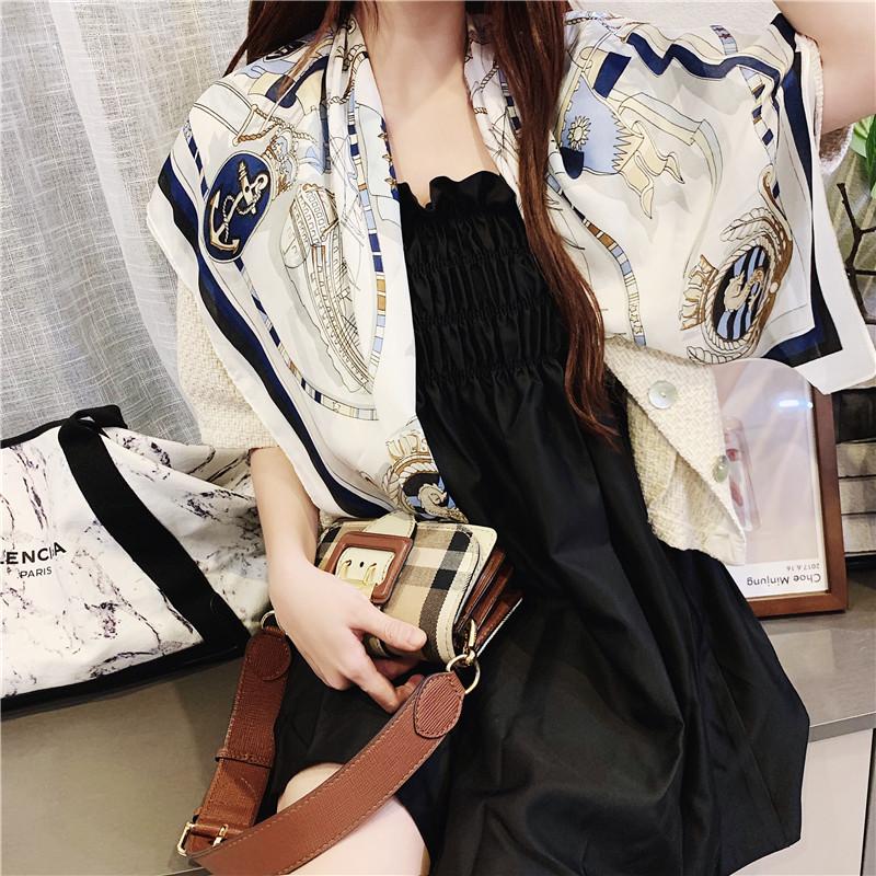 韩版新款复古大丝巾90cm大方巾夏季丝巾欧美风围巾女配饰头巾发带