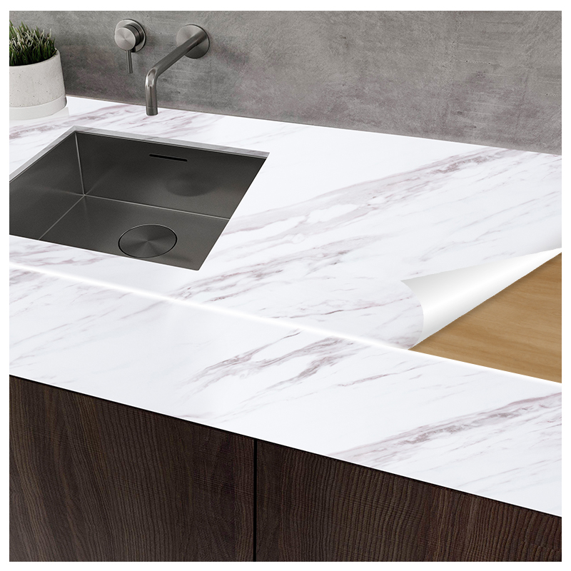 Kitchen oil-proof imitation marble pattern stickers thickened wall ...